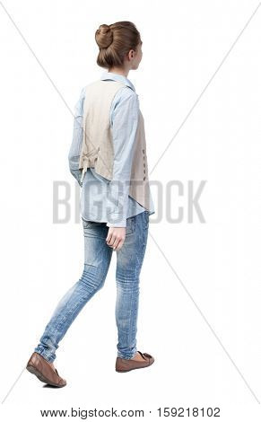 back view of walking  woman in vest. beautiful girl in motion.  backside view of person.  Rear view people collection. Isolated over white background. Girl with a bun of hair left out