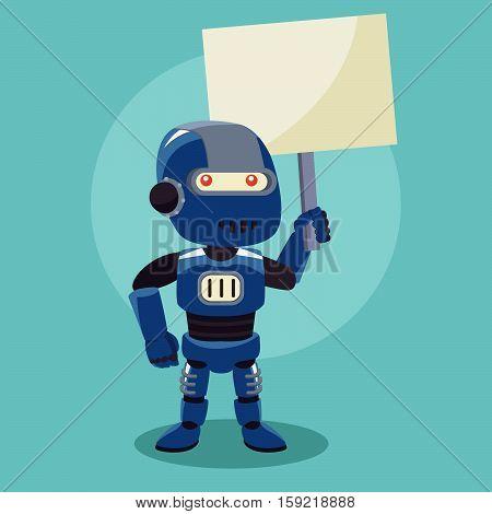 blue robot holding sign eps10 vector illustration design