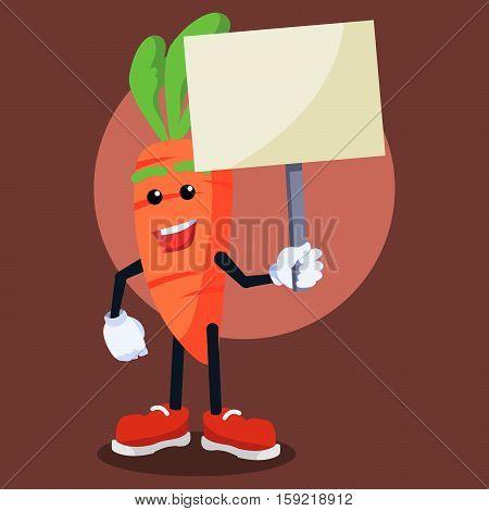 carrotman holding sign eps10 vector illustration design