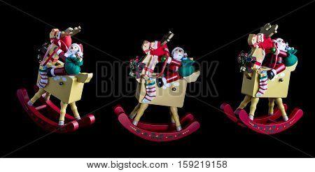 Christmas Decorations: 3 Rocking Santas