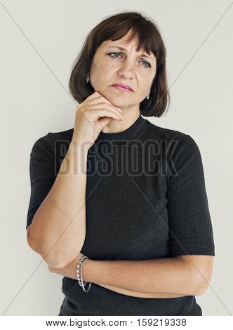 Woman Stressed Face Expression Concept