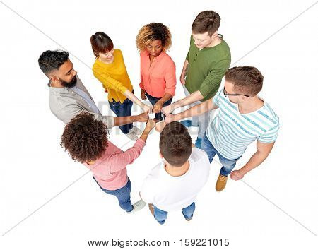 diversity, race, ethnicity and people concept - international group of happy smiling men and women holding hands together over white