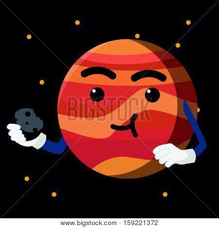 jupiter eating asteroid colorful eps10 vector illustration design