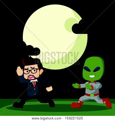 alien want to catch people illustration design