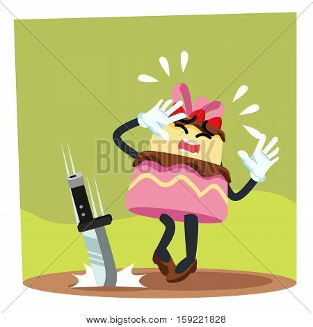 cake panicked cartoon eps10 vector illustration design