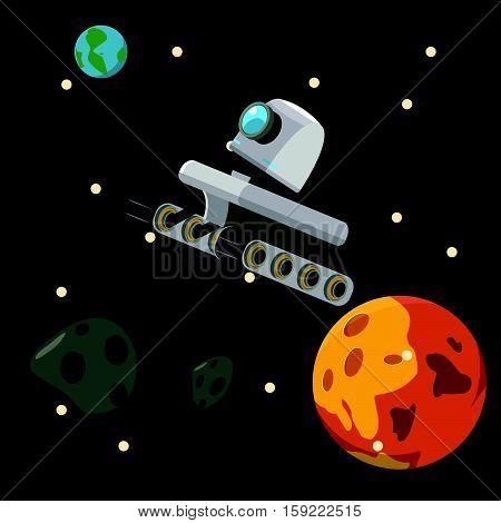 hover robot floating in the sapce illustration design