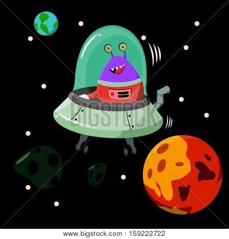 alien inside ufo mining asteroid illustration design