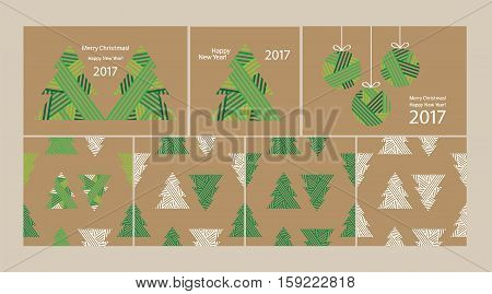 Happy New Year 2017. Merry Christmas. Set of Christmas and New Year elements: card, wrapping paper. Christmas seamless pattern. Printing on the kraft paper. Vector.