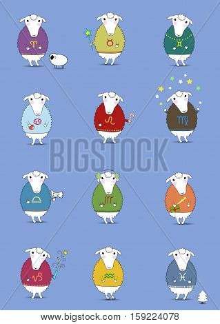 Set of Christmas sheeps. Funny horoscope. Colorful sweaters with pattern of Zodiac signs. Festive winter objects - cookies candies fir-tree snowman petard and others. illustration