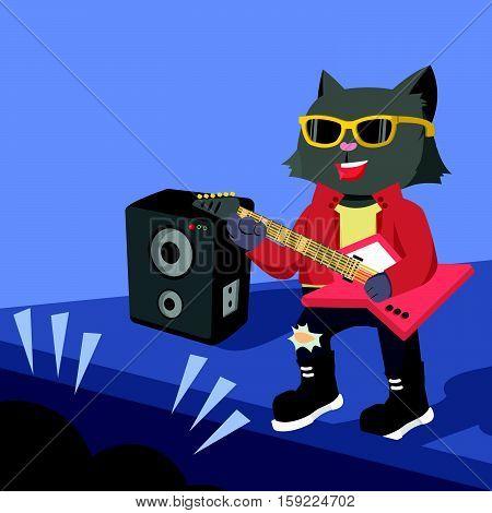 rock star cat guitarist concert vector illustration design