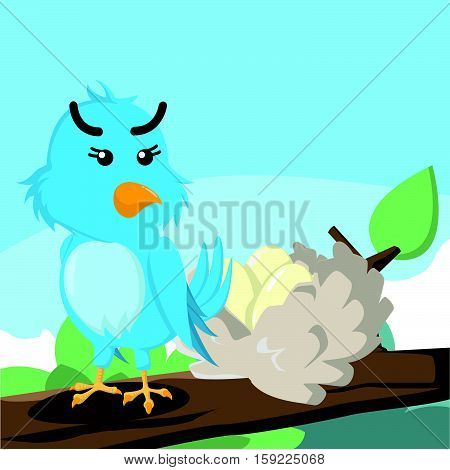 blue bird guarding her eggs vector illustration design
