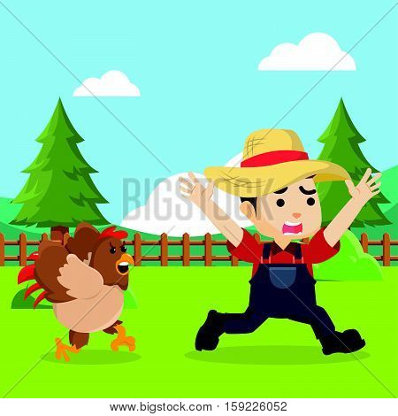 chicken scare boy farmer vector illustration design