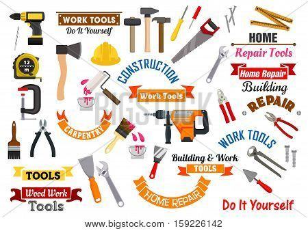 Repair, construction and carpentry work tools. Vector isolated icons, symbols, badges of home repair working instruments fretsaw and pliers, hammer, nail puller and saw, tape measure, spanner, screwdriver, safety helmet hat, trowel, paint brush poster