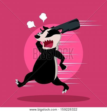 angry honey badger eps10 vector illustration design