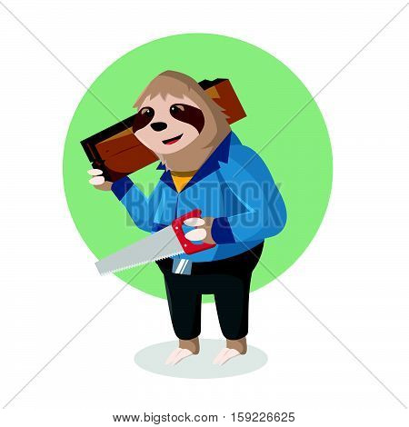 sloth handy holding wooden and hacksaw vector illustration design