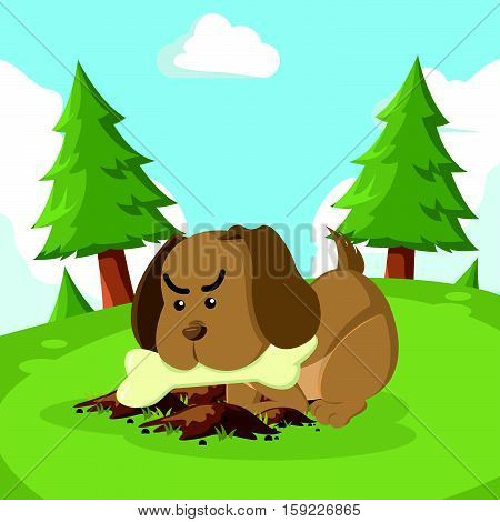 puppy burrying bone eps10 vector illustration design