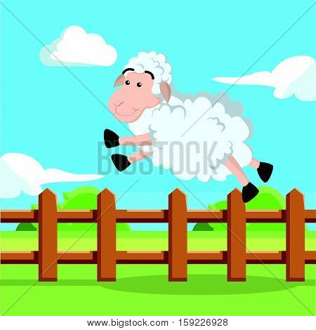 sheep jump over fence vector illustration design