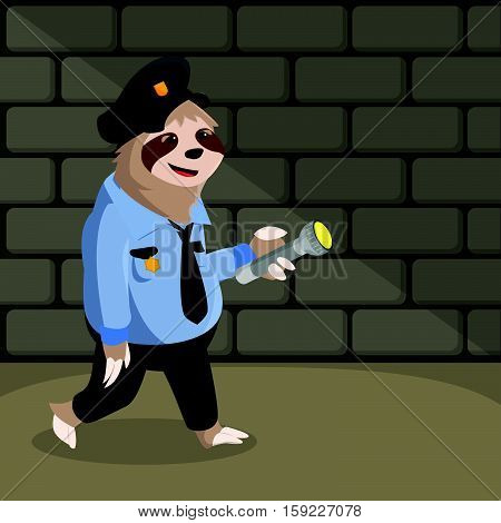 sloth patrol cartoon eps10 vector illustration design