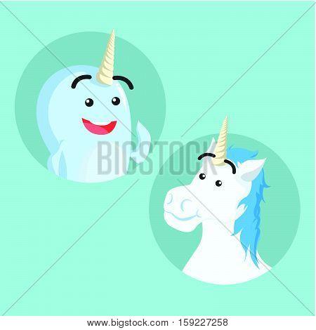 narwhal and unicorn eps10 vector illustration design