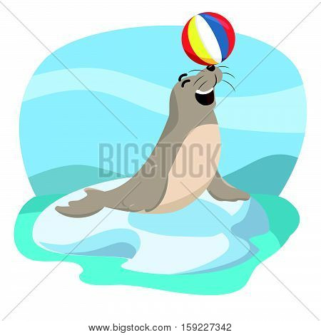 seal acrobatic cartoon eps10 vector illustration design