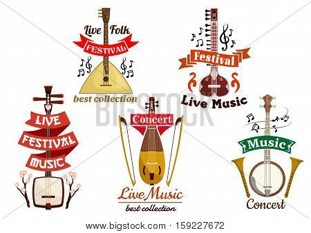 Musical folk and ethnic instruments icons of russian balalaika, japanese biwa, oriental koto, banjo, lute ekin. Vector isolated badges for musical festival, ethnic folk concert