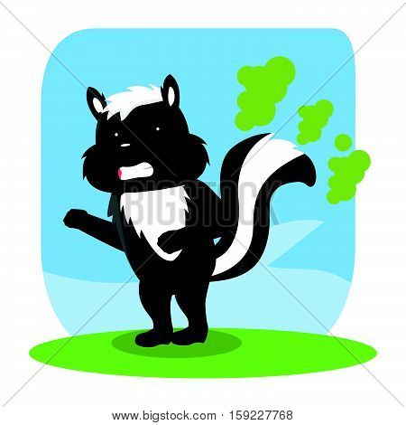 skunk farting cartoon eps10 vector illustration design
