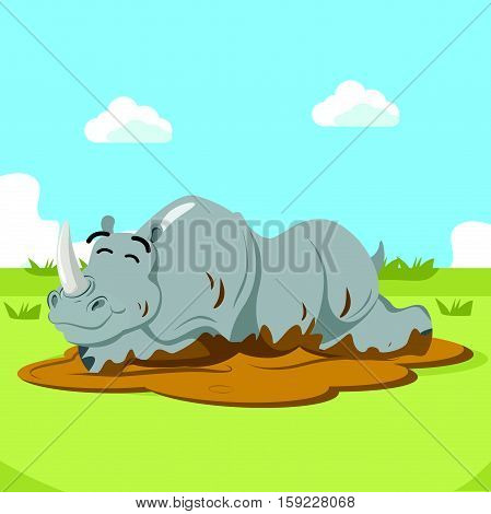 rhino character wallowing eps10 vector illustration design