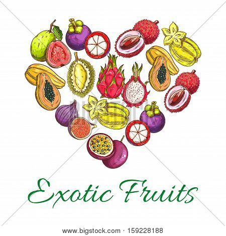 Exotic fruits heart shape poster of orange, papaya, durian, guava, carambola, dragon fruit, lychee, feijoa, passion fruit maracuya, longan, figs, rambutan, mangosteen. Vector tropical whole and half cut sliced juicy exotic tropical fruits icons