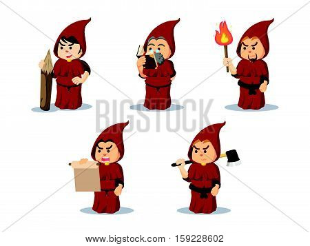 inquisitor cartoon set eps10 vector illustration design