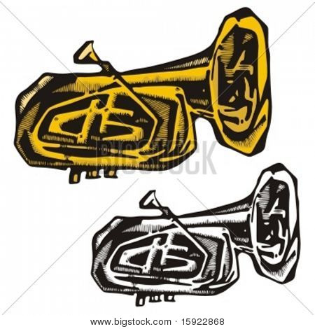 Music Instrument Series. Vector illustration of a cornet.