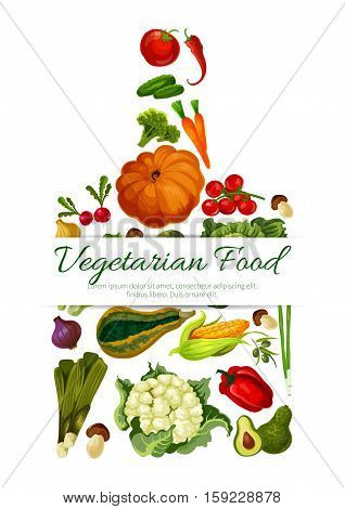 Vegetables, veggies poster in shape of cutting board. Vector symbol of cauliflower, pumpkin and broccoli cabbage, avocado, corn with champignon, broccoli, pea, pepper, cucumber and tomato, potato, beet, carrot and radish