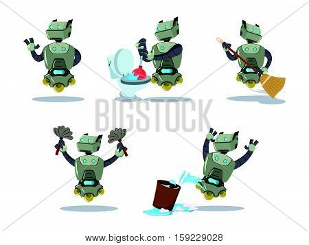 cleaning robot cartoon set eps10 vector illustration design