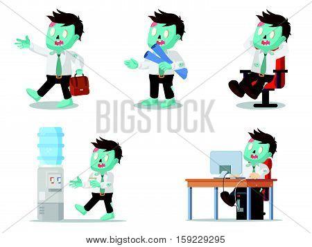 zombie office set eps10 vector illustration design