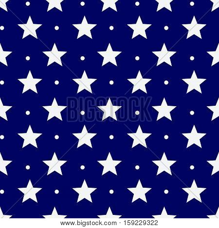 seamless pattern with white stars and dots on a blue background