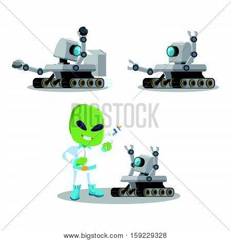 mars roveer robot set eps10 vector illustration design