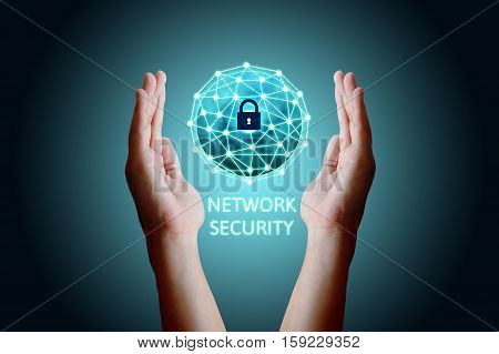 Cyber security network concept Young asian man holding global network security.