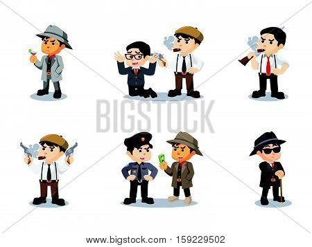 mafia cartoon set eps10 vector illustration design