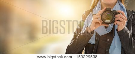 photographer camera dslr photo person portrait photographing girl joy make photography taking concept - stock image