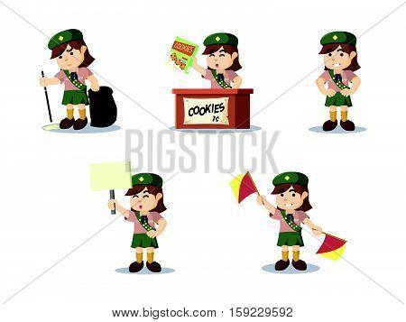 scout girl cartoon set eps10 vector illustration design