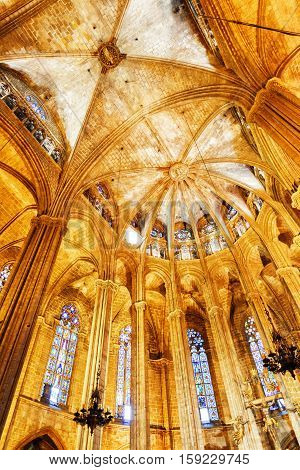 Gothic Arches In Interior Of The Barcelona Cathedral In Spain