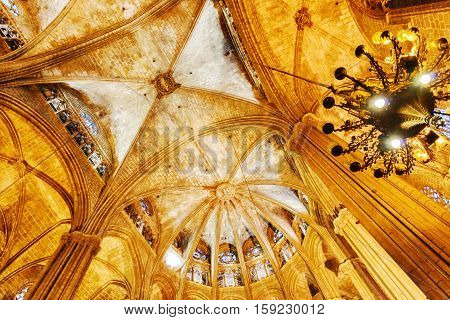 View Of Gothic Arches In Interior Of Barcelona Cathedral, Spain