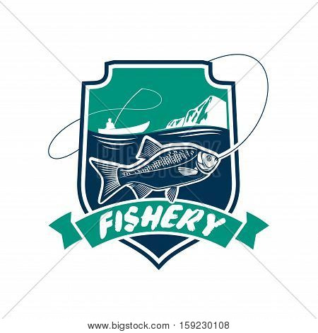 Fishery icon. Fish and seafood industry vector isolated badge with fisherman in boat, fishing rod, fish on hook, sea water. Fishing sport adventure club emblem or sign