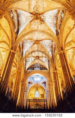 Interior Of The Barcelona Cathedral In Barcelona, Spain