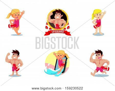 life guard cartoon set eps10 vector illustration design