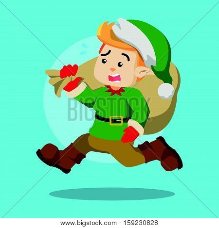 christmas elf rushing eps10 vector illustration design