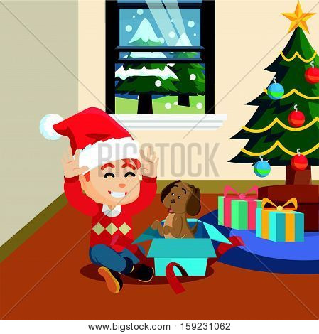 boy suprised with christmas gift eps10 vector illustration design
