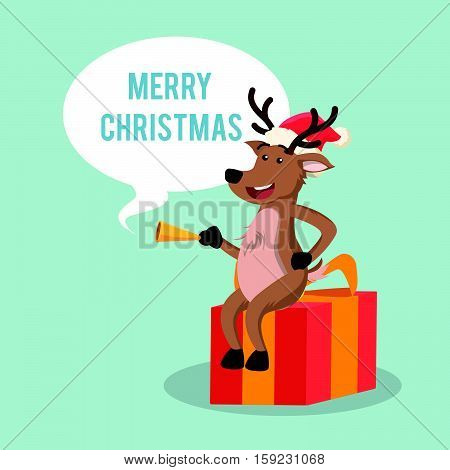 deer with callout merry christmas eps10 vector illustration design