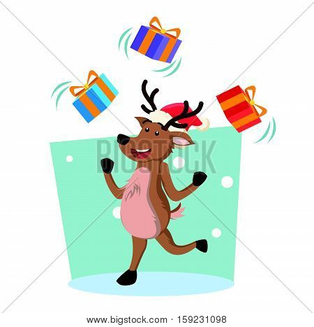 deer juggling christmas box eps10 vector illustration design