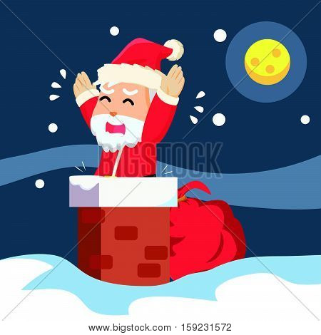 santa stuck in chimney eps10 vector illustration design
