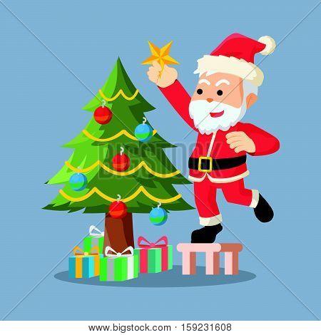 santa decorating christmas tree eps10 vector illustration design